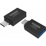 An image showing Black USB-C to USB 3.0A Adaptor