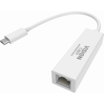 An image showing White USB-C to Ethernet Adaptor