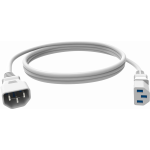An image showing White IEC Power Extension Cable 0.5m (1.6ft)