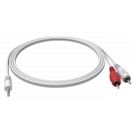 An image showing White Minijack to 2-Phono [RCA] Cable 2m (6.5ft)